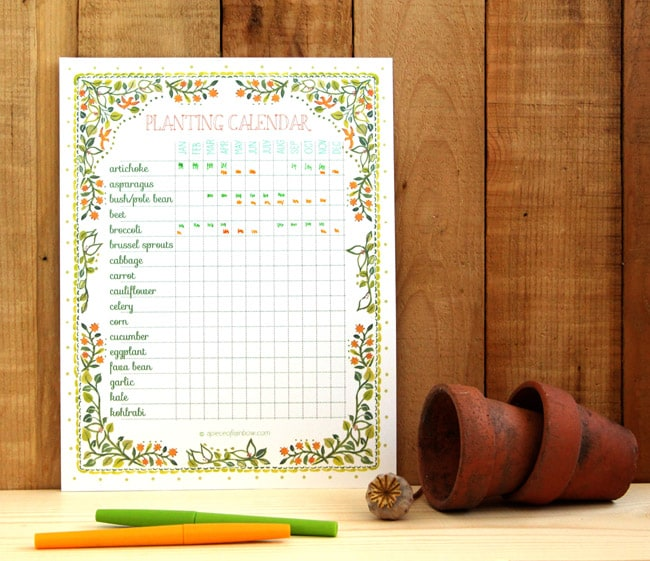 A set of beautiful and free printable planting calendar that you can customize