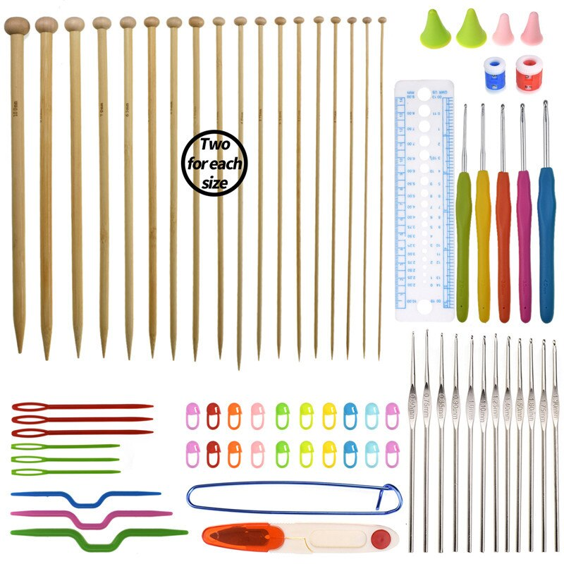 Big Capacity Knitting Needles Set Travel Organizer Storage Bag With 36pcs Straight Knitting Needles 17pcs Crochet Hooks Sets   (3)