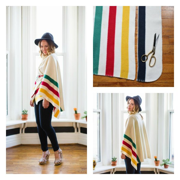 How to Make a Poncho from Your Favorite Blanket (no sew!)