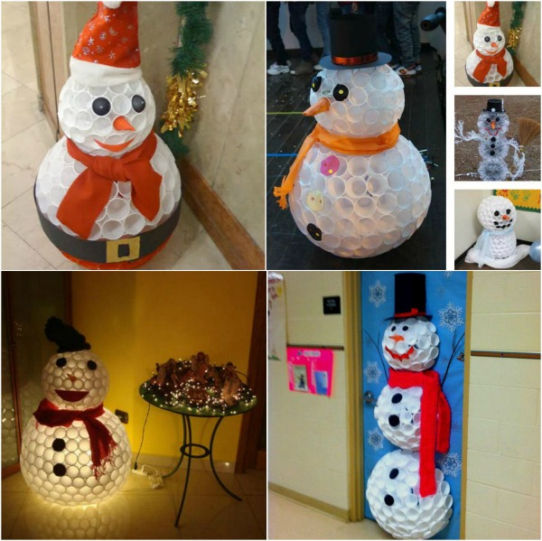 Creative Winter Craft: DIY Snowman Made from Plastic Cups