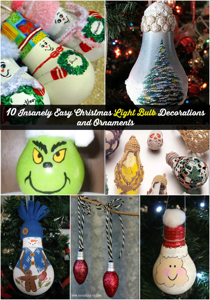 10 Insanely Easy Christmas Light Bulb Decorations and Ornaments