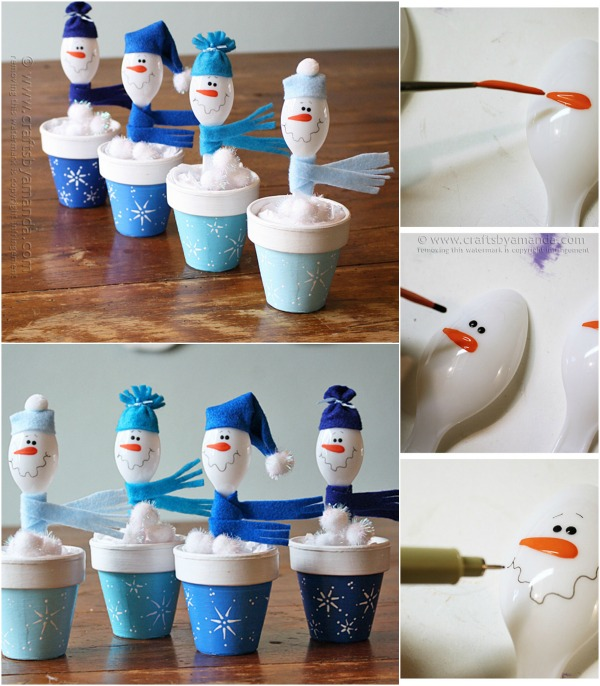 Cute and Easy Christmas Craft: DIY Plastic Spoon Snowmen