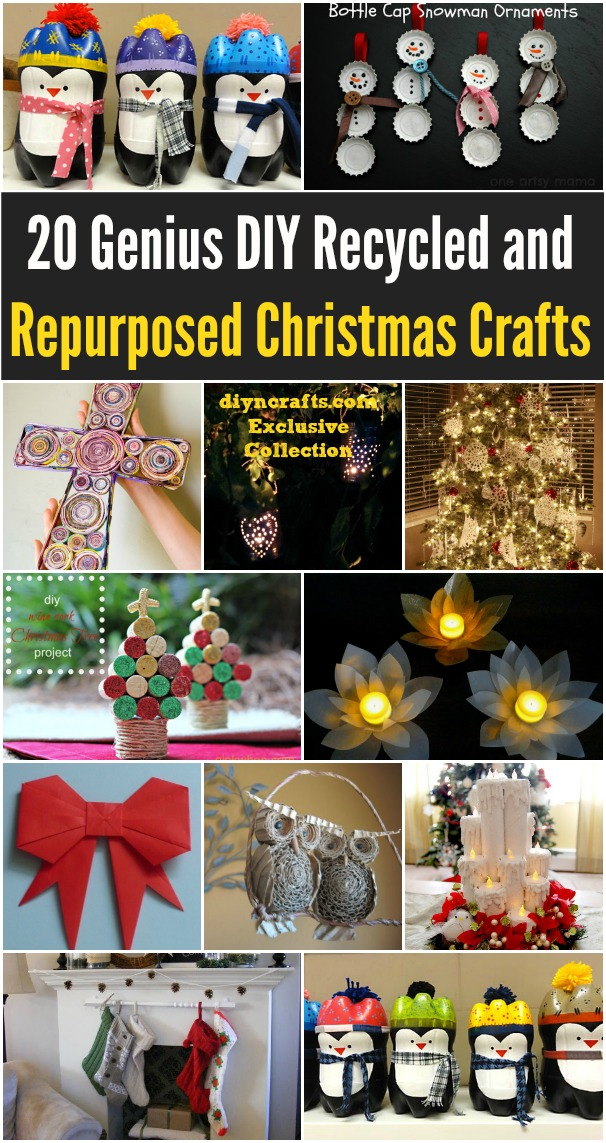 20 Genius DIY Recycled and Repurposed Christmas Crafts - Really good ideas for a frugal Christmas decorating experience, these are so Easy; there