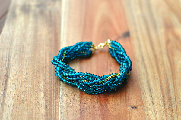Beaded and braided bracelet