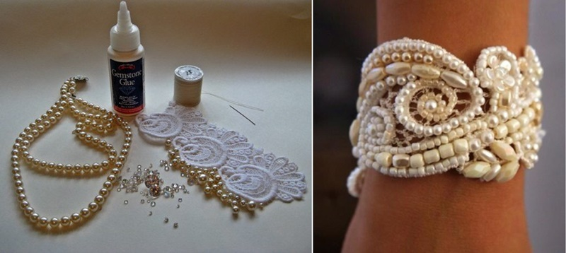 Lace and pearl bead wedding cuff