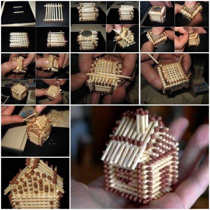 Mini matchstick house