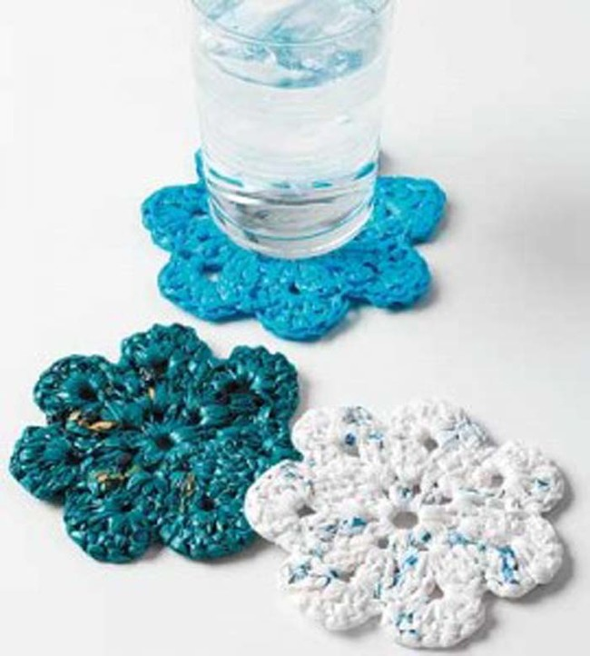 These coasters are made from crocheted plarn.