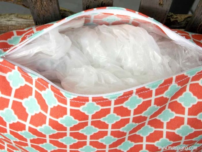 Instead of buying pillows for your patio, buy pillow cases and fill them with plastic bags.