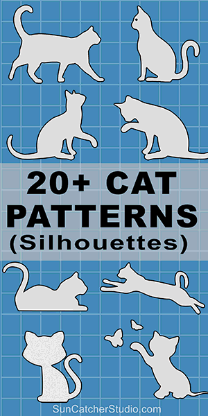 Cat silhouettes patterns, stencils, and templates for coloring, scroll saw, laser cutting.