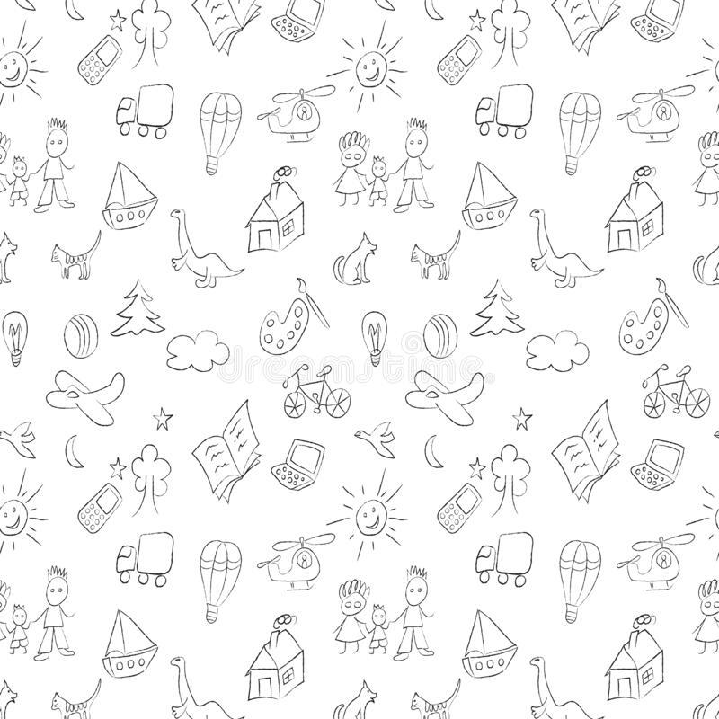 Seamless black pattern with children drawings, chalk or charcoal sketches. Kid stuff pattern. Swatch is included in vector file stock illustration