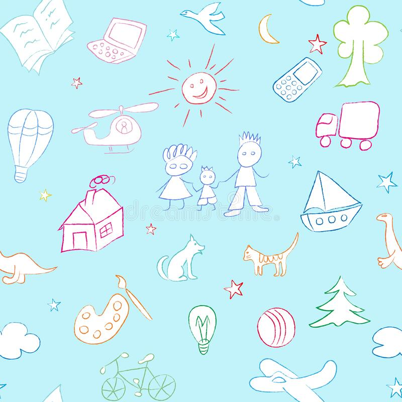 Seamless pattern with children drawings, chalk sketches. Kid stuff pattern. Chalk sketches on blue background. Swatch is included in vector file stock illustration