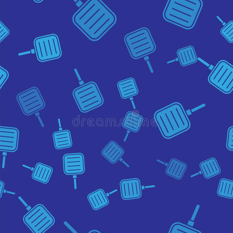 Blue Frying pan icon isolated seamless pattern on blue background. Fry or roast food symbol. Vector Illustration.  royalty free illustration