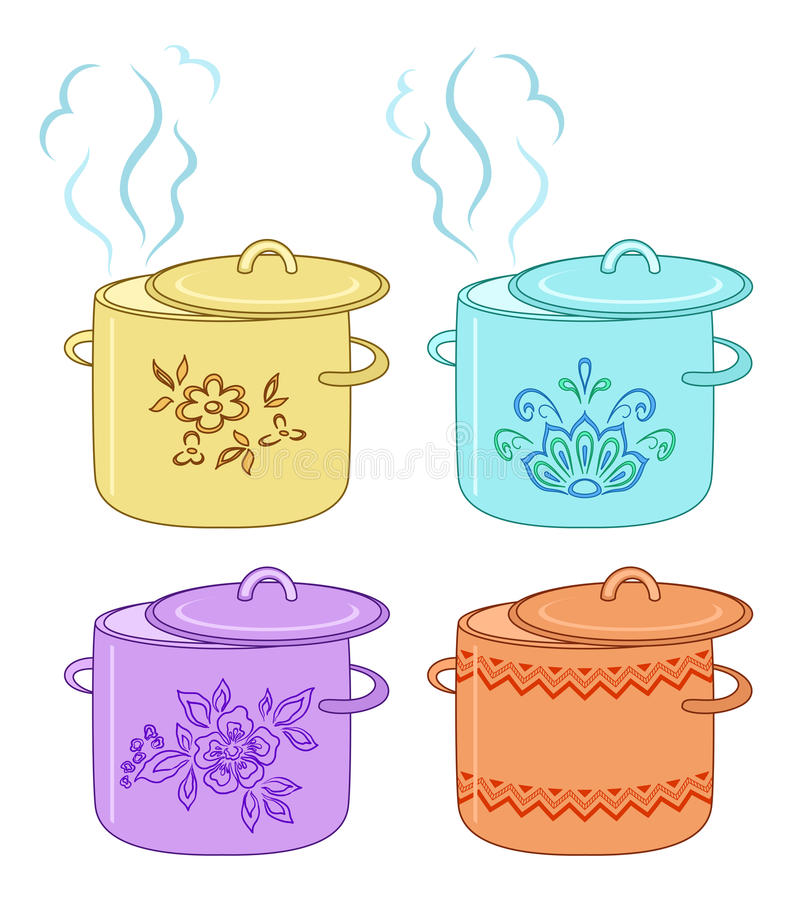 Boiling pan with pattern, set. Boiling pan with flower pattern, cover and steam, set stock illustration