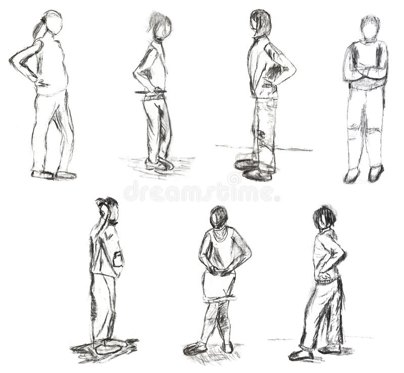 Children drawing - sketches of people motion. Children drawing - sketches of standing people stock illustration