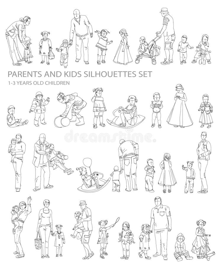 Children and parents silhouettes,. Sketch collection royalty free illustration