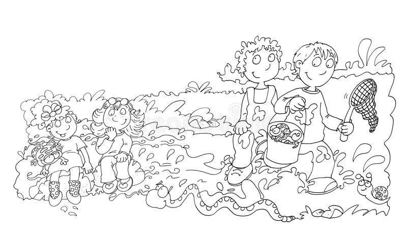 Children in the pond with frogs,sketches and pencil sketches and doodles. Children in the pond with frogs illustration for children sketches and pencil sketches vector illustration