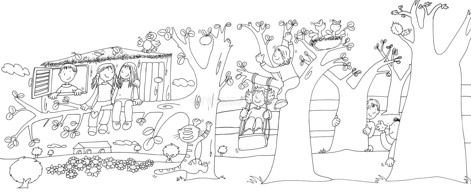 Children in the pond with frogs,sketches and pencil sketches and doodles. Children playing hide and seek behind the trees and the house on the tree illustration stock illustration