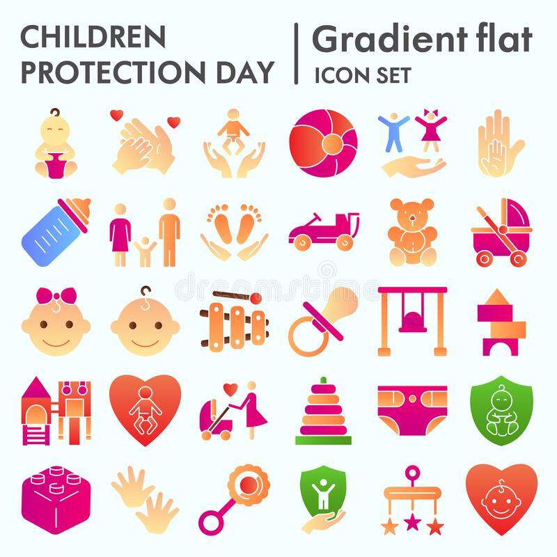 Children protection day flat icon set, baby stuff symbols collection, vector sketches, logo illustrations, kids care. Signs, gradient pictograms package royalty free illustration