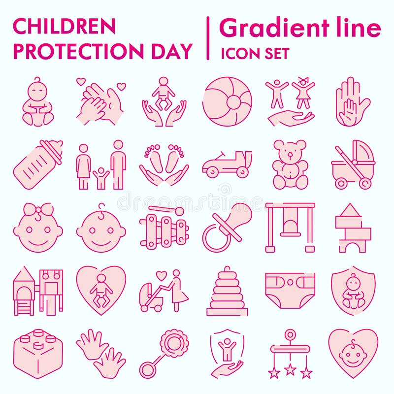 Children protection day flat icon set, baby stuff symbols collection, vector sketches, logo illustrations, kids care. Signs, gradient pictograms package stock illustration