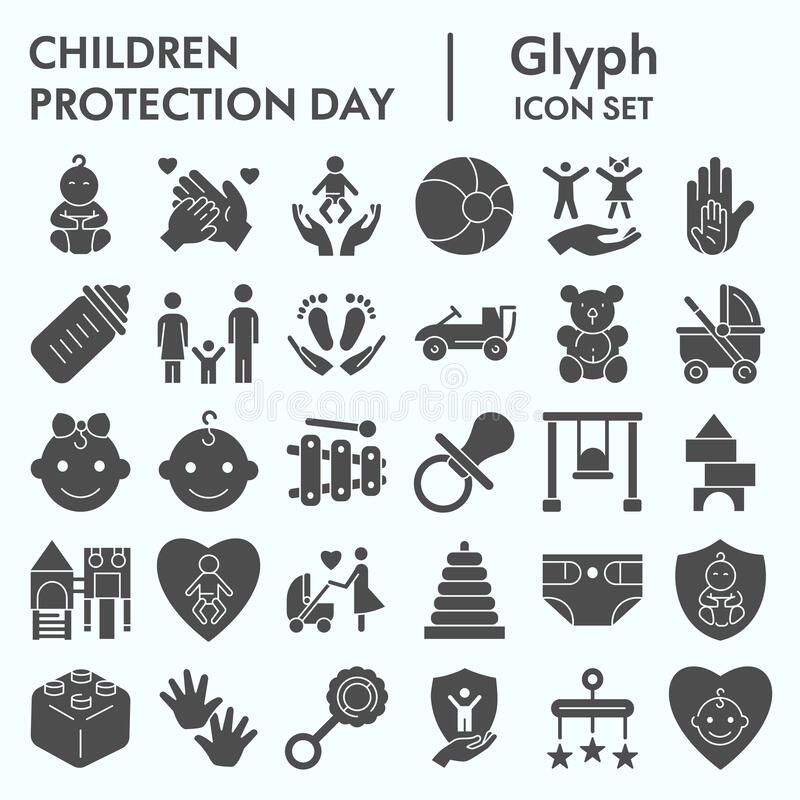 Children protection day glyph icon set, baby stuff symbols collection, vector sketches, logo illustrations, kids care. Signs solid pictograms package isolated vector illustration