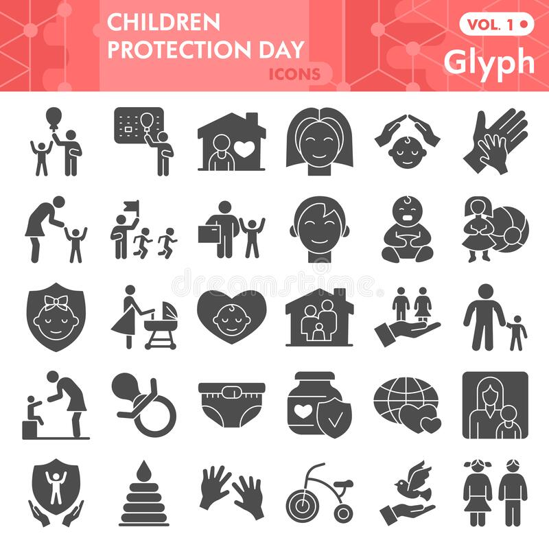 Children protection day solid icon set, Child care symbols set collection vector sketches. 1st June holiday signs set. For web, glyph pictogram style package royalty free illustration