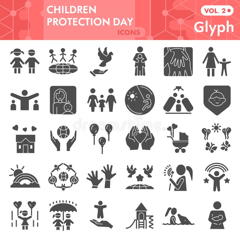 Children protection day solid icon set, Child safety symbols set collection vector sketches. Kids care signs set for. Computer web, glyph pictogram style stock illustration