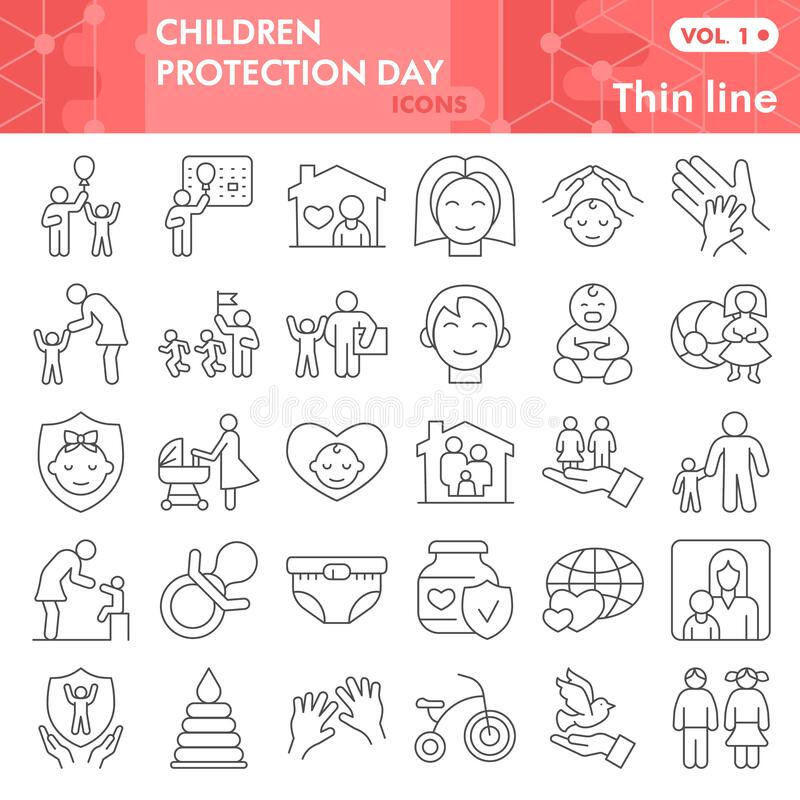 Children protection day thin line icon set, Child care symbols set collection vector sketches. 1st June holiday signs. Set for web, linear pictogram style royalty free illustration