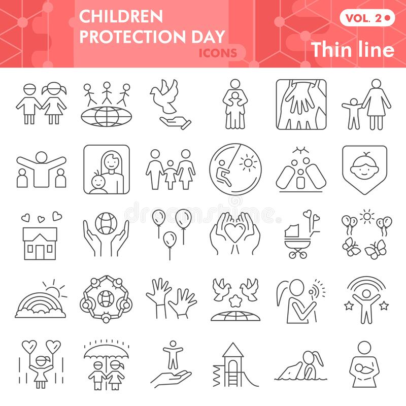 Children protection day thin line icon set, Child safety symbols set collection vector sketches. Kids care signs set for. Computer web, linear pictogram package vector illustration
