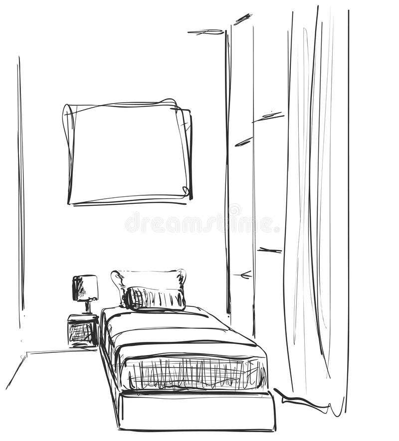 Children room.Graphic black white interior sketch . Bedroom. Children room.Graphic black white interior sketch stock illustration