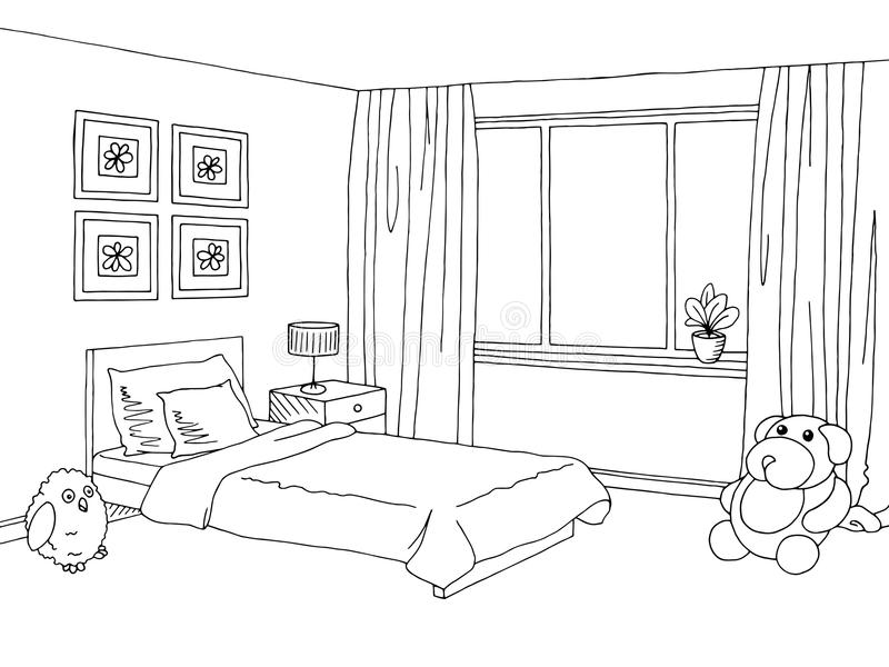 Children room graphic black white interior sketch. Vector stock illustration
