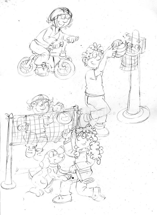 Children who do sport ,sketches and pencil sketches and doodles. Children who do sport sketches and pencil sketches and doodles humorist illustration for royalty free illustration