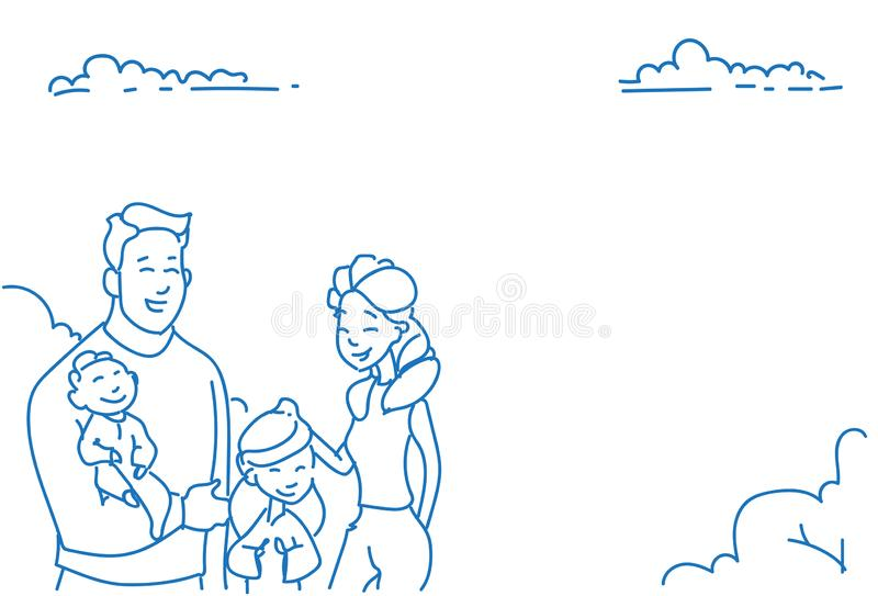 Father mother two children baby son daughter happy family concept sketch doodle hand drawn portrait horizontal. Vector illustration royalty free illustration