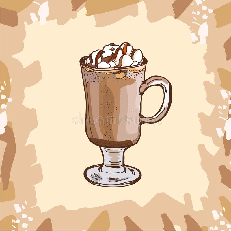 Glass cup of hot cocoa with marshmallows and chocolate topping for children. Colorful vector illustration in sketch style. Hand. Glass cup of hot cocoa with royalty free illustration