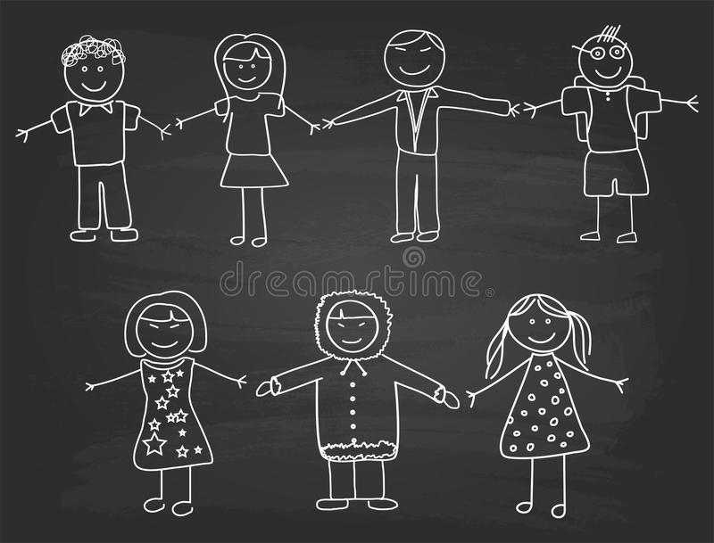 Happy Children Sketch. On School Blackboard royalty free illustration