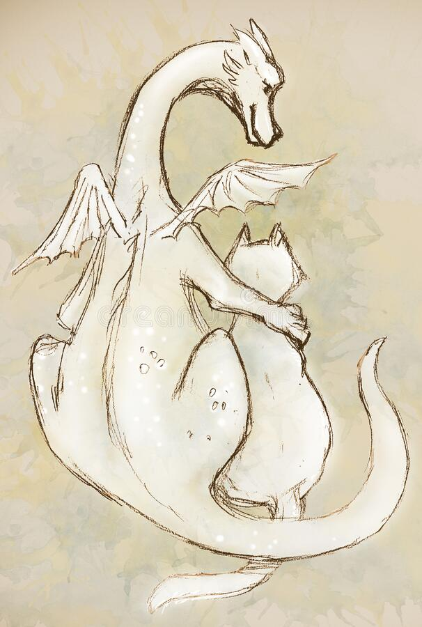 Pencil drawing of a dragon and a cat on a beige background.  royalty free stock image