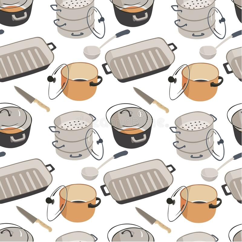 Kitchenware saucepans with lids, frying pan seamless pattern. Sauces with lids, knives and spoons, frying pan seamless pattern. Kitchenware utensils and dishes royalty free illustration