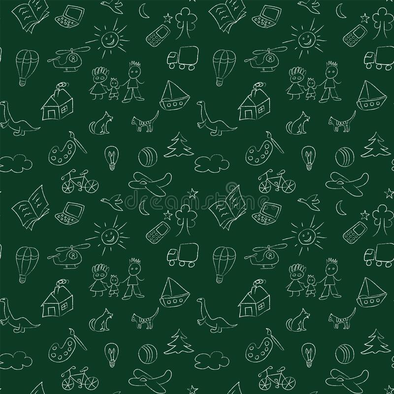 Seamless pattern with children drawings, chalk or charcoal sketches. Kid stuff pattern. Swatch is included in vector file stock illustration
