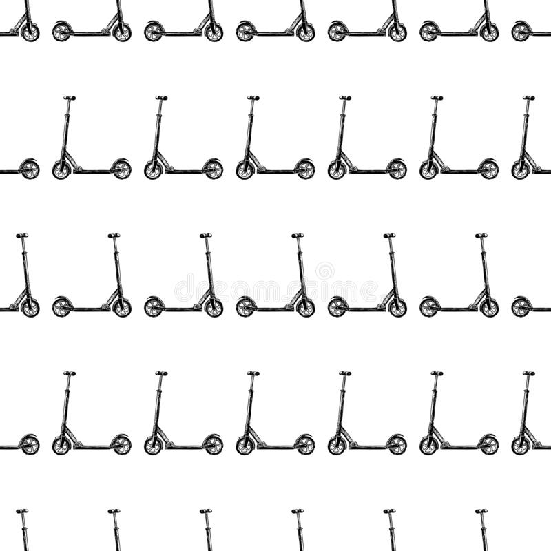 Seamless pattern of sketches of children scooters. Vector pattern of sketches of children scooters royalty free illustration