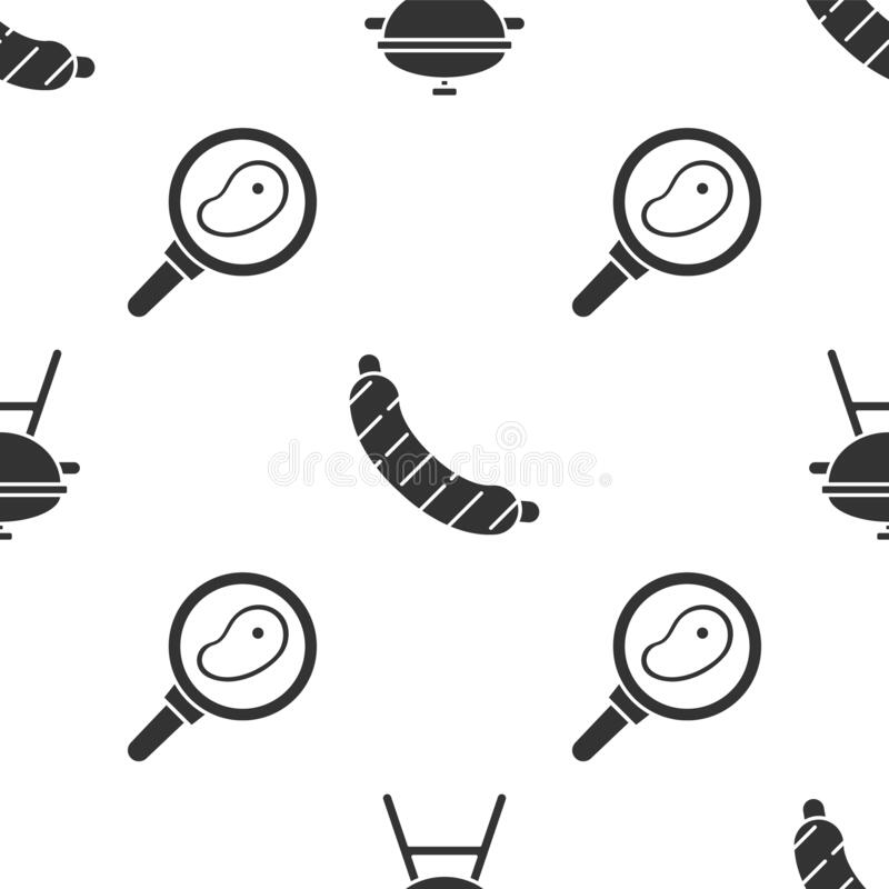 Set Barbecue grill, Sausage and Steak meat in frying pan on seamless pattern. Vector.  stock illustration
