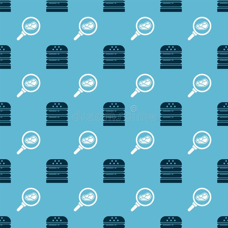 Set Burger and Steak meat in frying pan on seamless pattern. Vector.  vector illustration