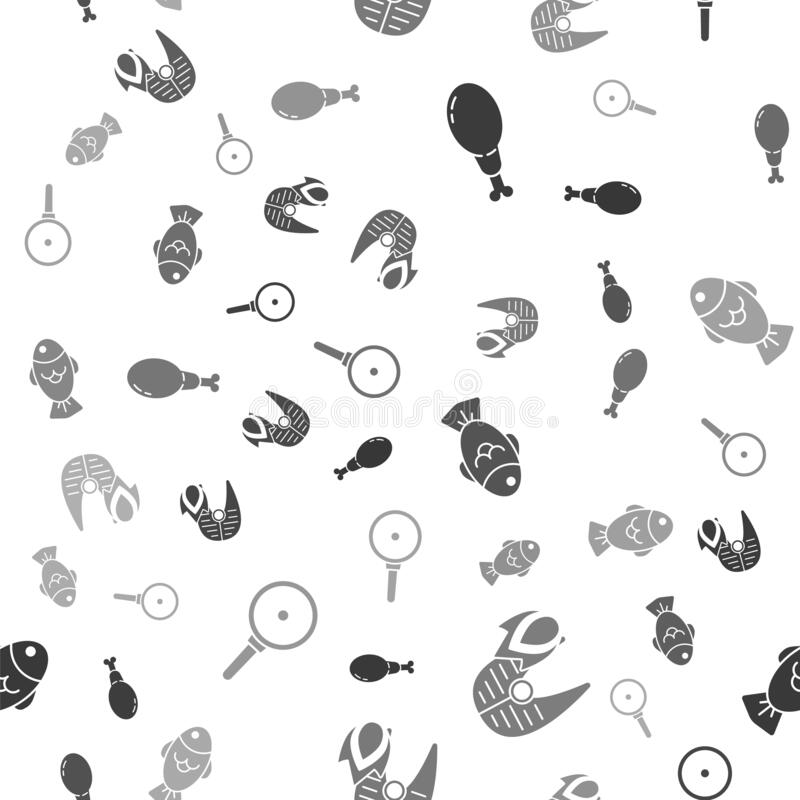 Set Chicken leg, Grilled fish steak and fire flame, Fish and Frying pan on seamless pattern. Vector.  vector illustration