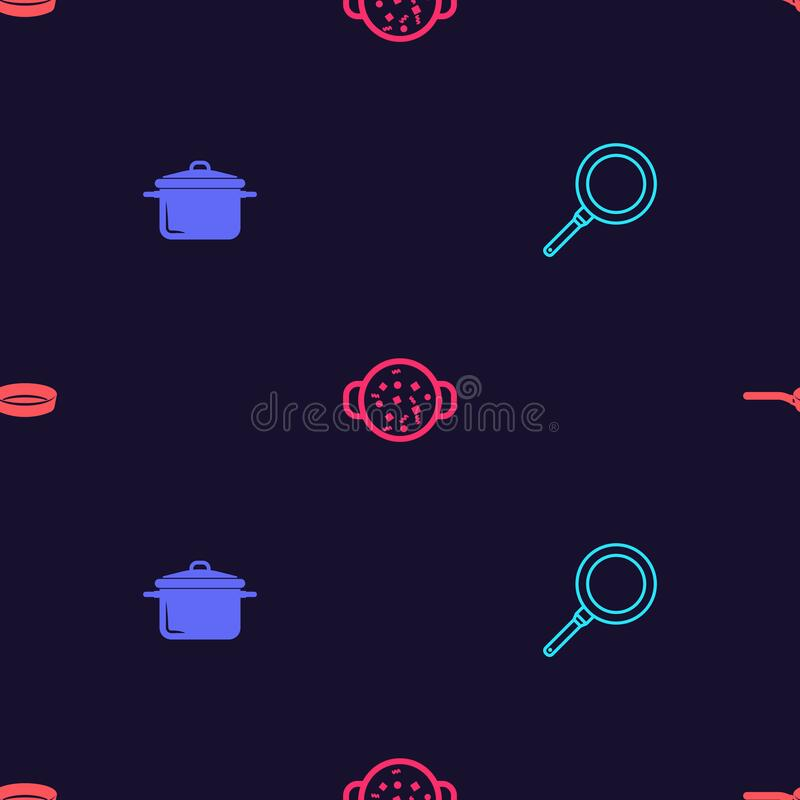 Set Frying pan, Cooking pot, soup and on seamless pattern. Vector.  vector illustration