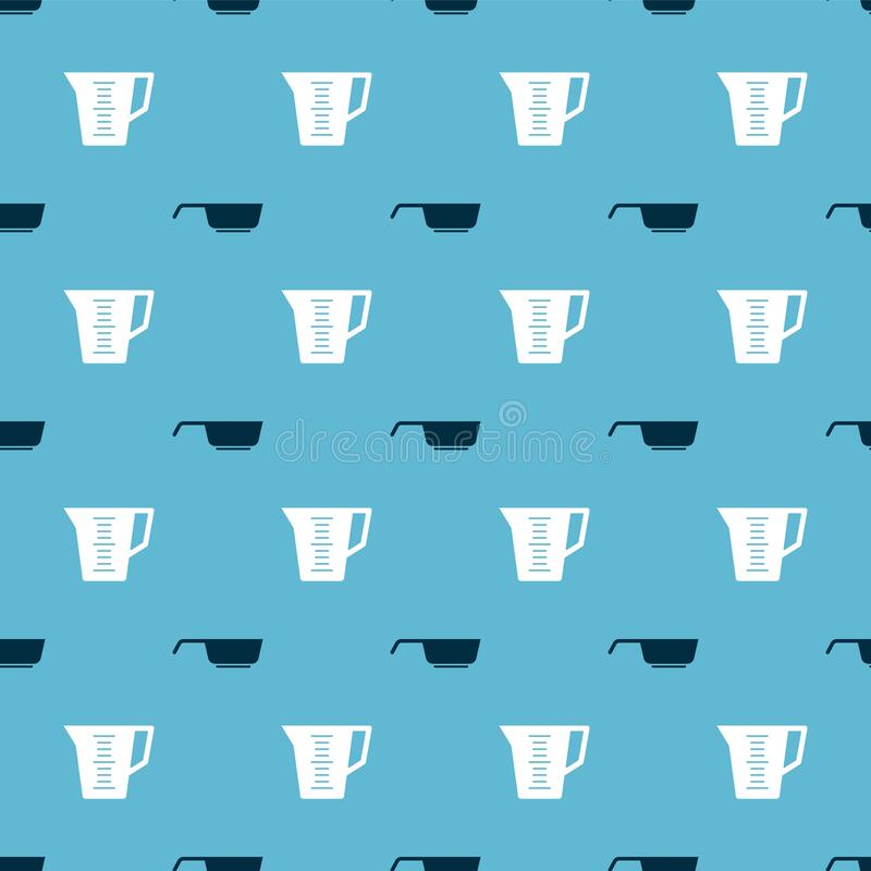 Set Frying pan and Measuring cup on seamless pattern. Vector.  vector illustration