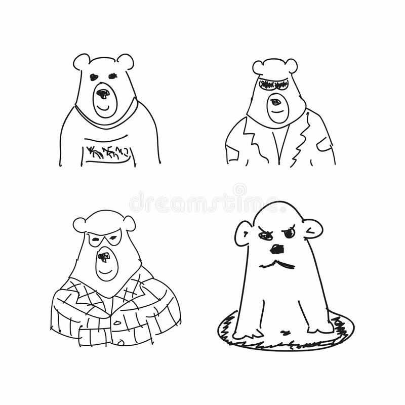 Set of funny sketches of bear. Imitation of children`s drawings. Sketchy, scribble. Vector illustration. Set of funny sketches of bear. Imitation of children`s vector illustration