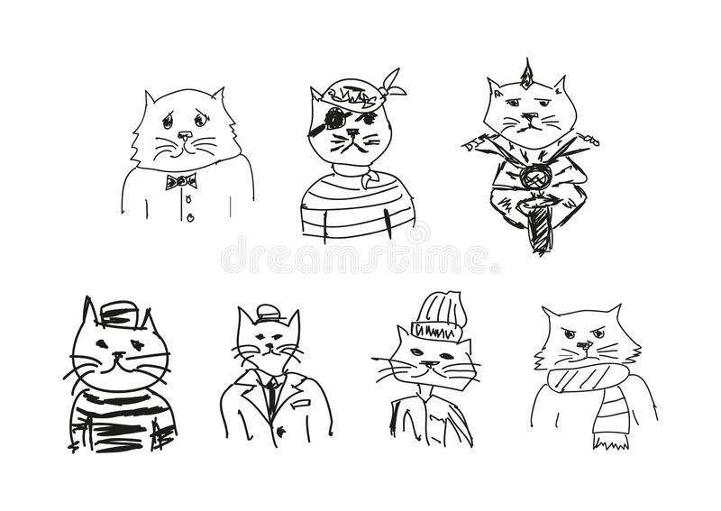 Set of funny sketches of cats. Imitation of children`s drawings. Sketchy, scribble. Vector illustration. Set of funny sketches of cats. Imitation of children`s stock illustration