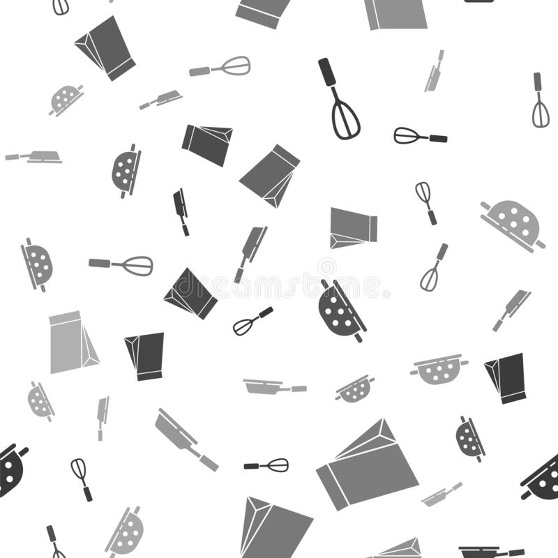 Set Kitchen whisk, Bag of coffee beans, Kitchen colander and Frying pan on seamless pattern. Vector.  vector illustration