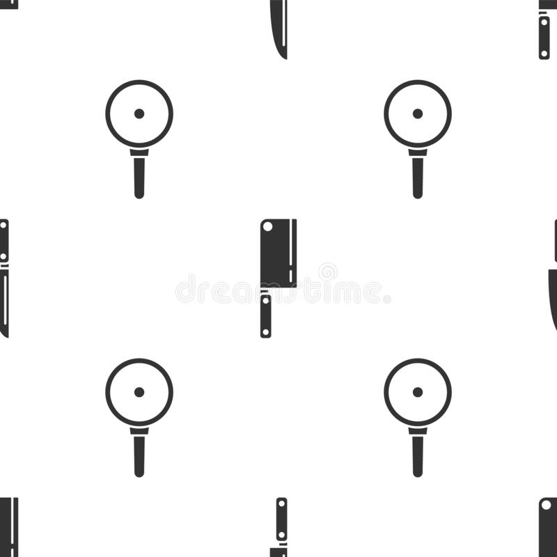 Set Knife, Meat chopper and Frying pan on seamless pattern. Vector.  vector illustration