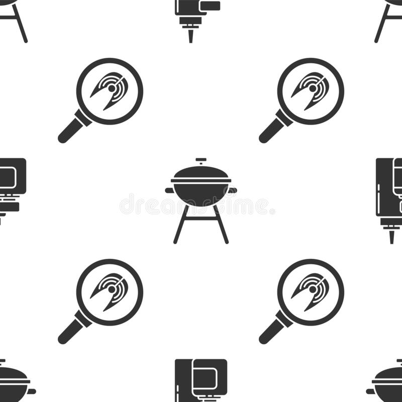 Set Sauce bottle, Barbecue grill and Fish steak in frying pan on seamless pattern. Vector.  royalty free illustration