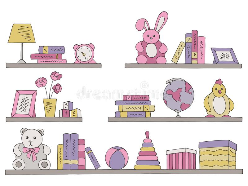 Shelves set graphic color isolated children room toy book sketch illustration vector. Shelves set graphic color isolated children room toy book sketch vector vector illustration