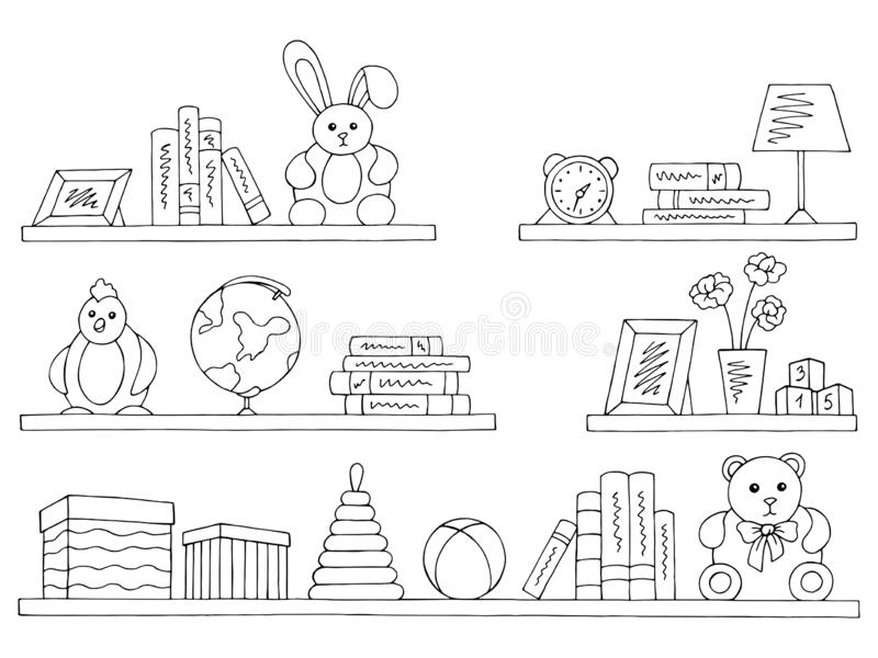Shelves set graphic black white isolated children room toy book sketch illustration vector. Shelves set graphic black white isolated children room toy book vector illustration